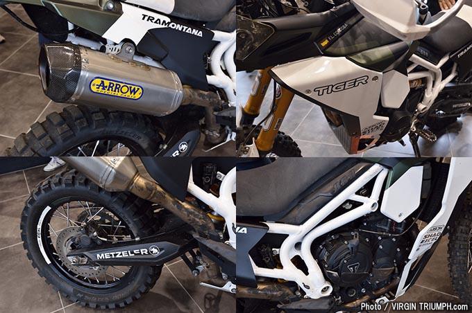 トライアンフの新型スピードトリプルRSとトラモンタナが展示されたニューモデルローンチの画像